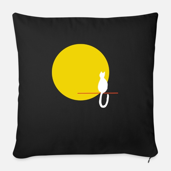 Moon Landing Pillow Cases - Cat moon - Pillowcase 17,3'' x 17,3'' (45 x 45 cm) black