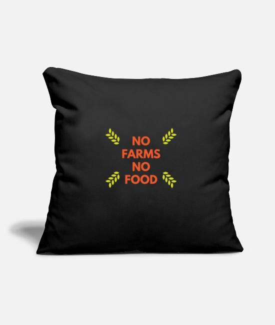 Nature Pillow Cases - NO farms NO food - Pillowcase 17,3'' x 17,3'' (45 x 45 cm) black
