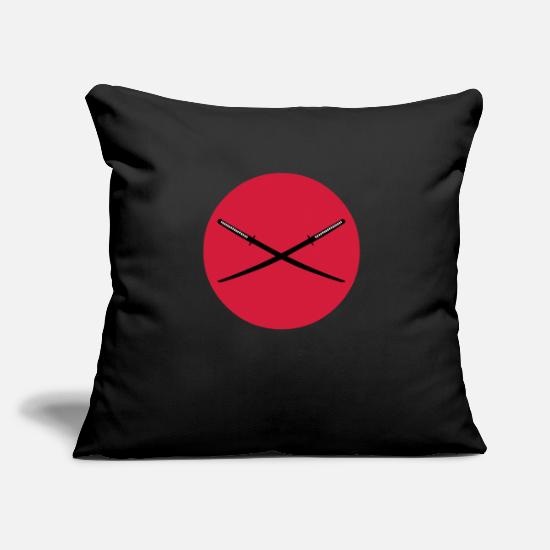 Warrior Pillow Cases - Crossed Japanese Katana - Pillowcase 17,3'' x 17,3'' (45 x 45 cm) black
