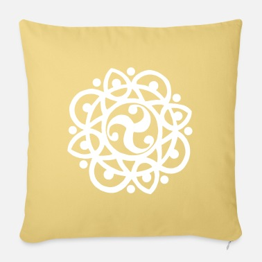 Stylized Celtic flower and sun (white) - Pillowcase 17,3'' x 17,3'' (45 x 45 cm)