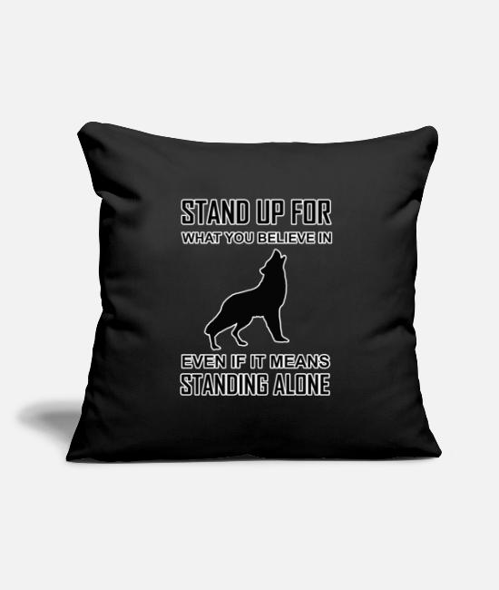 Native American Wisdom Pillow Cases - native american, indian, stand up wolf - Pillowcase 17,3'' x 17,3'' (45 x 45 cm) black