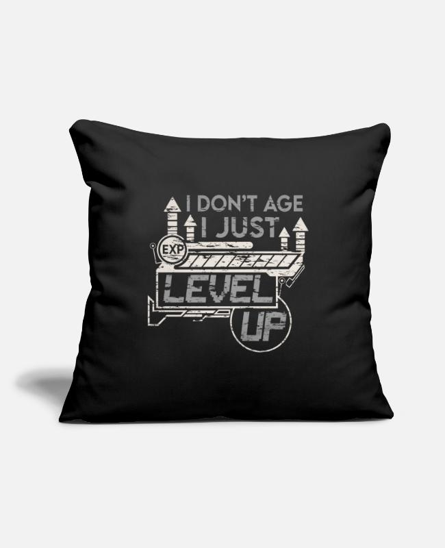 Video Game Pillow Cases - I don't age I level up funny gamer idea - Pillowcase 17,3'' x 17,3'' (45 x 45 cm) black