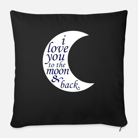 Couples Pillow Cases - LOVE YOU TO THE MOON - Pillowcase 17,3'' x 17,3'' (45 x 45 cm) black