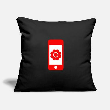 Beautiful Flower with bloom on smartphone gift - Pillowcase 17,3'' x 17,3'' (45 x 45 cm)