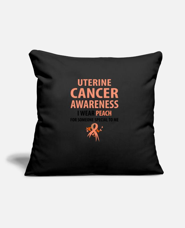 Cancer Survivor Pillow Cases - I Wear Peach For Someone Special To Me - Pillowcase 17,3'' x 17,3'' (45 x 45 cm) black