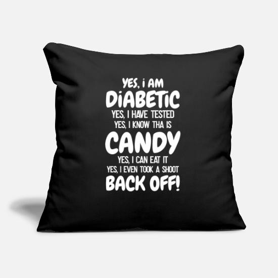 Gift Idea Pillow Cases - Diabetic sweets insulin pump type 1 gift - Pillowcase 17,3'' x 17,3'' (45 x 45 cm) black