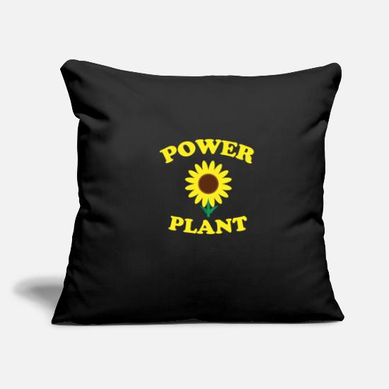 Power Pillow Cases - power plant sunflower plant garden summer - Pillowcase 17,3'' x 17,3'' (45 x 45 cm) black