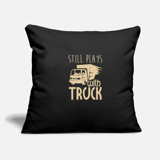 Gift Idea Pillow Cases - still plays with trucks trucker truck driver profession - Pillowcase 17,3'' x 17,3'' (45 x 45 cm) black