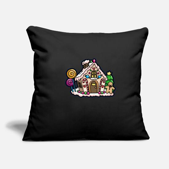 Candy Cane Pillow Cases - Gingerbread house gingerbread house - Pillowcase 17,3'' x 17,3'' (45 x 45 cm) black
