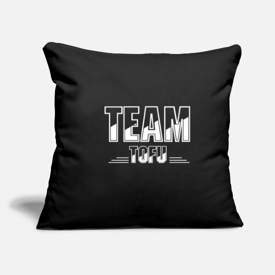 Food Pillow Cases - Team tofu vegan vegetarian no meat - Pillowcase 17,3'' x 17,3'' (45 x 45 cm) black