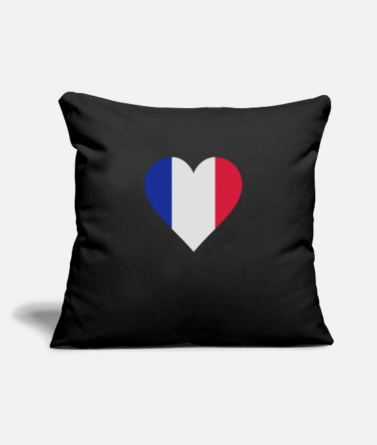 Soccer Pillow Cases - frankreich herz - Pillowcase 17,3'' x 17,3'' (45 x 45 cm) black
