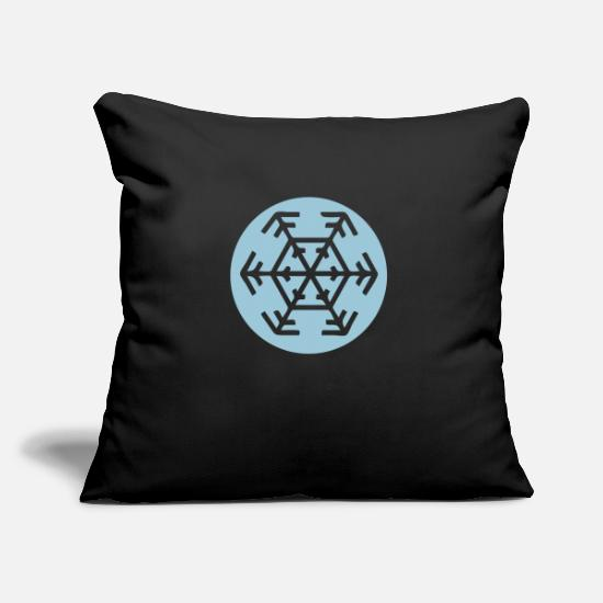 Symbol  Pillow Cases - Classic snowflake in a circle 1 color - Pillowcase 17,3'' x 17,3'' (45 x 45 cm) black