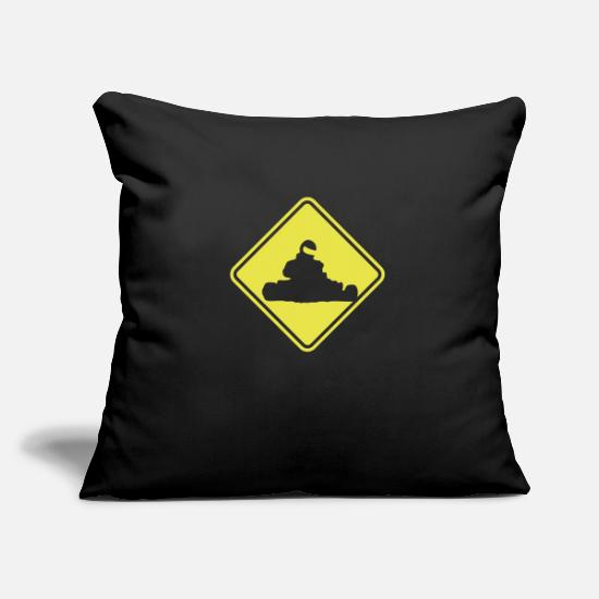 Road Sign Pillow Cases - Karting Roadsign - Pillowcase 17,3'' x 17,3'' (45 x 45 cm) black