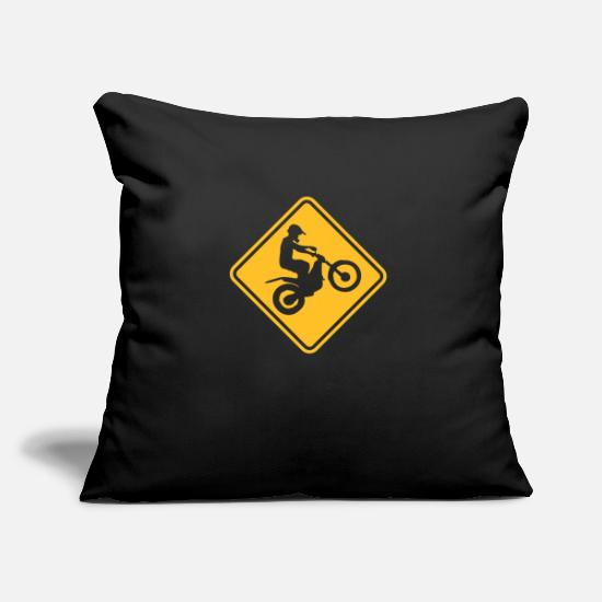 Warning Pillow Cases - trials bike warning roadsign - Pillowcase 17,3'' x 17,3'' (45 x 45 cm) black