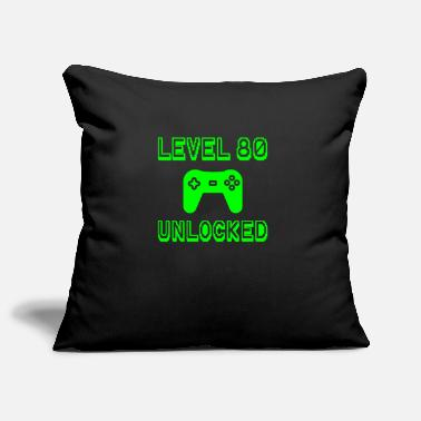 Gear Level 80 Unlocked Gamer 80th Birthday Gift Idea - Pillowcase 17,3'' x 17,3'' (45 x 45 cm)