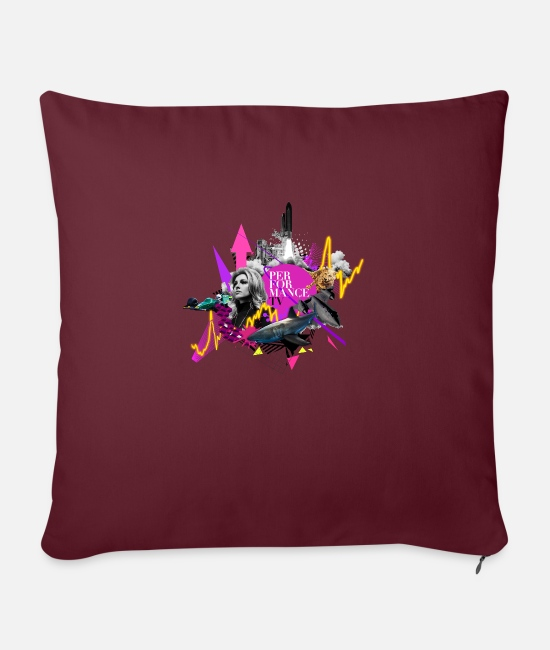 Pop Culture Pillow Cases - Pop Culture Revival - Funky 80s Performance - Pillowcase 17,3'' x 17,3'' (45 x 45 cm) burgundy