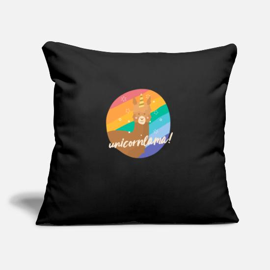 Gift Idea Pillow Cases - Unicornlama unicorn lama - Pillowcase 17,3'' x 17,3'' (45 x 45 cm) black