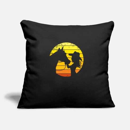 Horse Racing Pillow Cases - Rider Western riding Western rider horse - Pillowcase 17,3'' x 17,3'' (45 x 45 cm) black