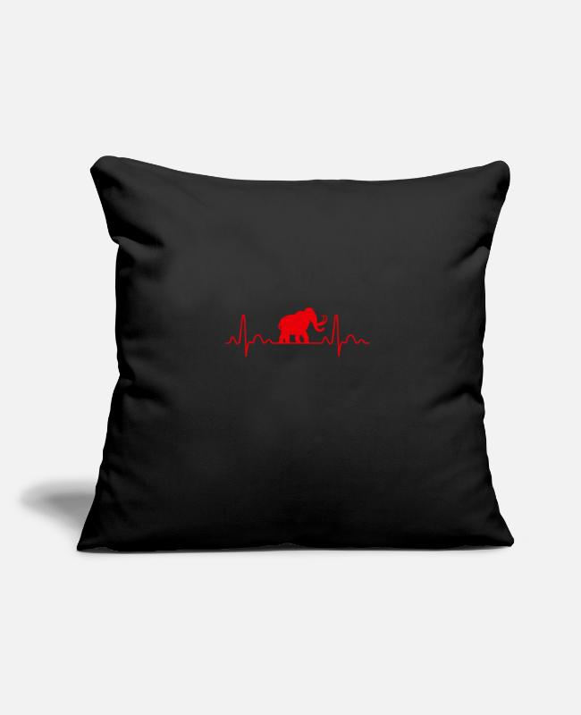 Primeval Times Pillow Cases - Heartbeat Mammoth Shilouette gift idea - Pillowcase 17,3'' x 17,3'' (45 x 45 cm) black