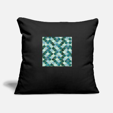 Pattern Mermaid Scales Neck Gator Blue Dark Green Mermaid - Pillowcase 17,3'' x 17,3'' (45 x 45 cm)