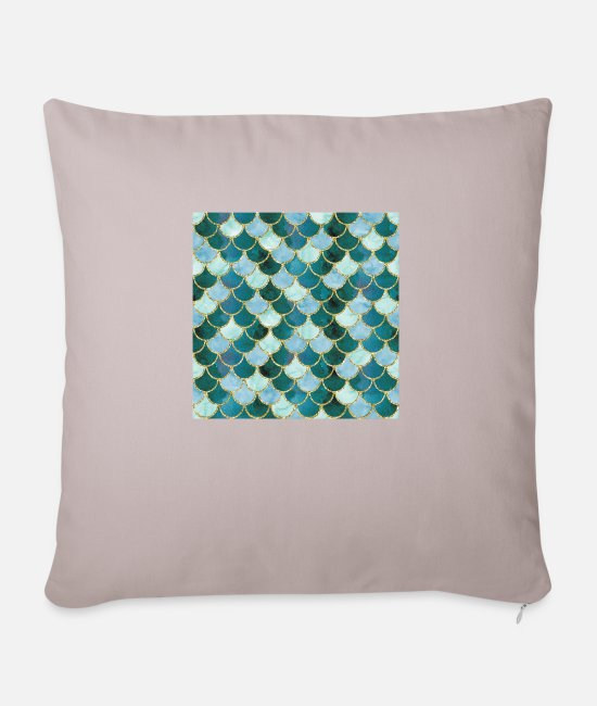 Neptune Pillow Cases - Mermaid Scales Neck Gator Blue Dark Green Mermaid - Pillowcase 17,3'' x 17,3'' (45 x 45 cm) light taupe