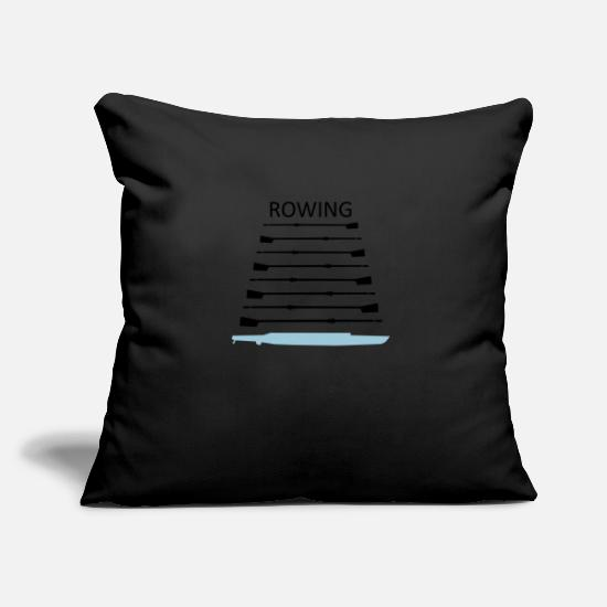 Water Sports Pillow Cases - Rowing, boat and oars - Pillowcase 17,3'' x 17,3'' (45 x 45 cm) black