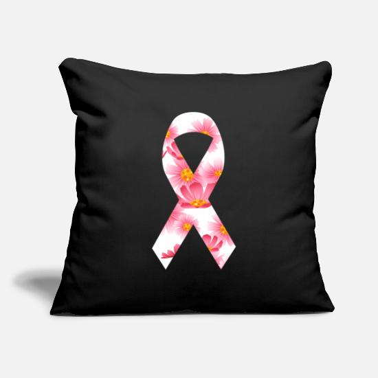 Gift Idea Pillow Cases - Breast Cancer Bow Pink Flowers | Fighter Cancer - Pillowcase 17,3'' x 17,3'' (45 x 45 cm) black