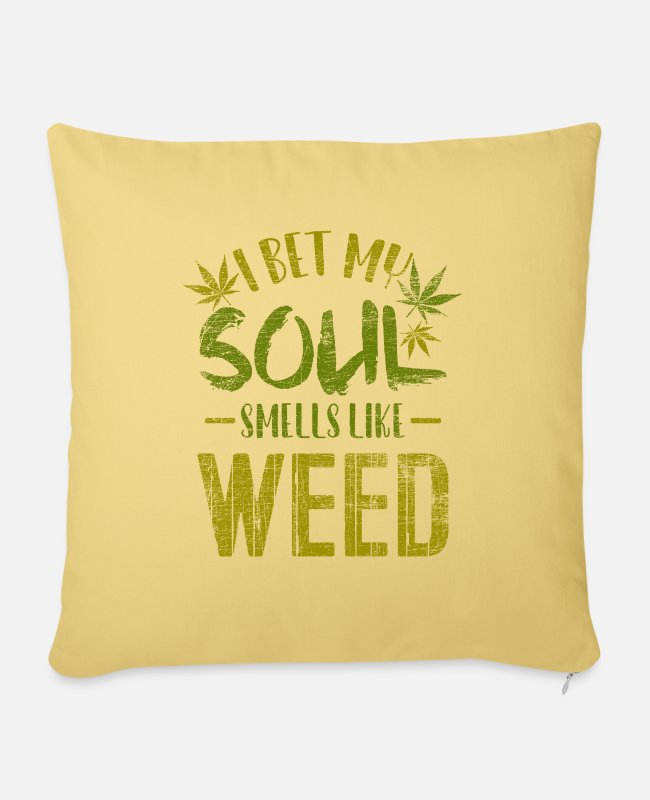 Hemp Pillow Cases - cannabis - Pillowcase 17,3'' x 17,3'' (45 x 45 cm) washed yellow