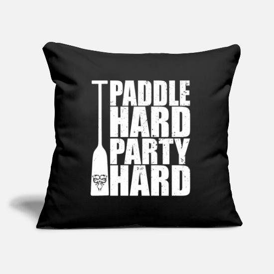 Aquatics Pillow Cases - Paddle Hard Party Hard Dragon Boat Canoe - Pillowcase 17,3'' x 17,3'' (45 x 45 cm) black