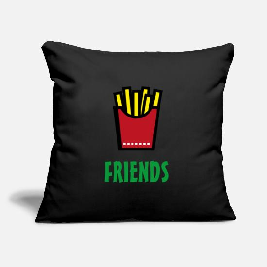 Love Pillow Cases - Best Friends Burger & Fries Fries Fries Fries - Pillowcase 17,3'' x 17,3'' (45 x 45 cm) black