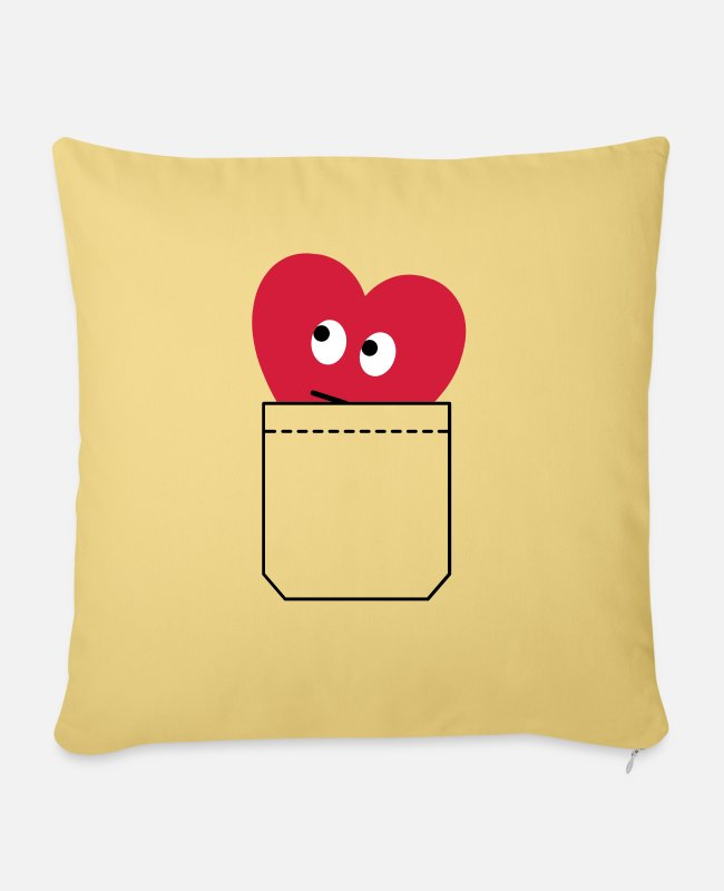 Grin Pillow Cases - heart in pocket - Pillowcase 17,3'' x 17,3'' (45 x 45 cm) washed yellow
