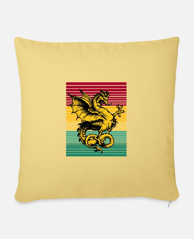 Dragonslayer Pillow Cases - Fantasy dragon mythical creature - Pillowcase 17,3'' x 17,3'' (45 x 45 cm) washed yellow