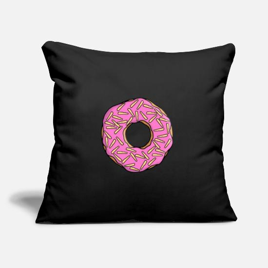 Gift Idea Pillow Cases - Donut with frosting and white chocolate chips - Pillowcase 17,3'' x 17,3'' (45 x 45 cm) black