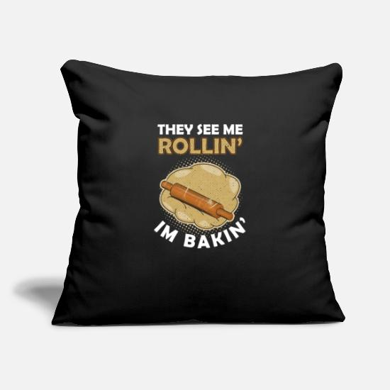Bread Pillow Cases - Pastry Baker Patissier Bread Maker Breads - Pillowcase 17,3'' x 17,3'' (45 x 45 cm) black