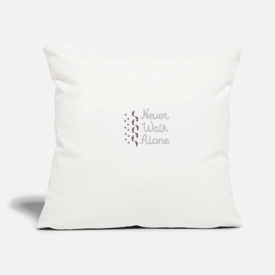 Love Pillow Cases - Never Walk Alone Dog Lover Gift - Pillowcase 17,3'' x 17,3'' (45 x 45 cm) natural white