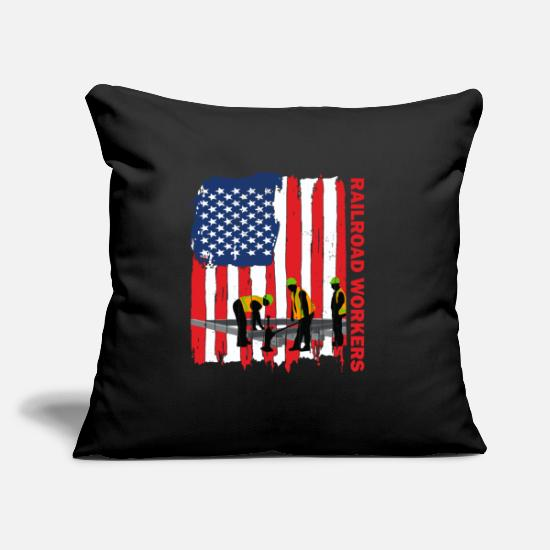 Steam Engine Pillow Cases - American railroad worker - Pillowcase 17,3'' x 17,3'' (45 x 45 cm) black