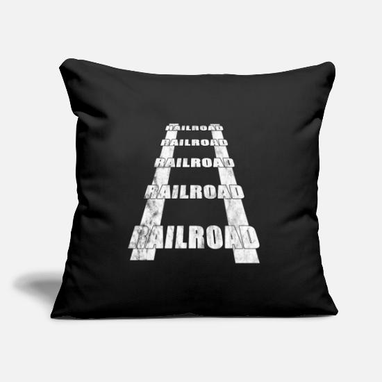 Steam Engine Pillow Cases - Rails railway - Pillowcase 17,3'' x 17,3'' (45 x 45 cm) black