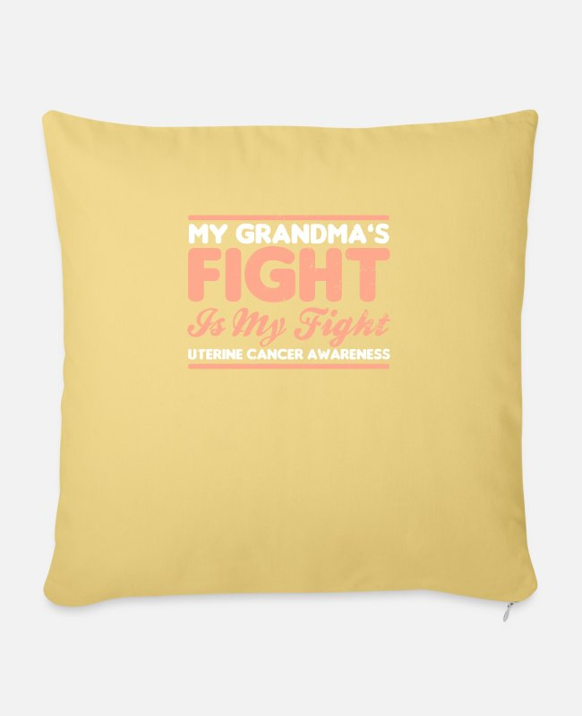 Cancer Survivor Pillow Cases - Uterine Cancer My Grandmas Fight is My Gift - Pillowcase 17,3'' x 17,3'' (45 x 45 cm) washed yellow