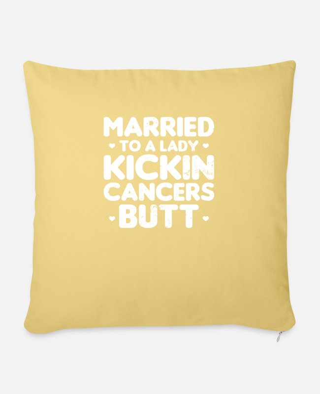 Cancer Survivor Pillow Cases - Uterine Cancer Married To A Lady Gift - Pillowcase 17,3'' x 17,3'' (45 x 45 cm) washed yellow