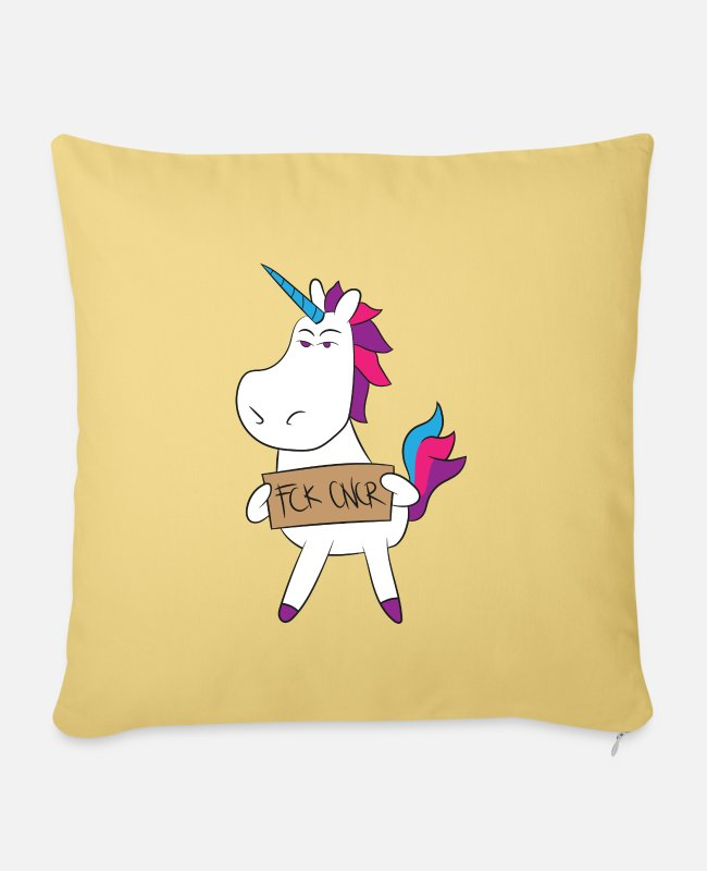 Cancer Survivor Pillow Cases - Uterine Cancer FCK CNCR Unicorn Gift - Pillowcase 17,3'' x 17,3'' (45 x 45 cm) washed yellow
