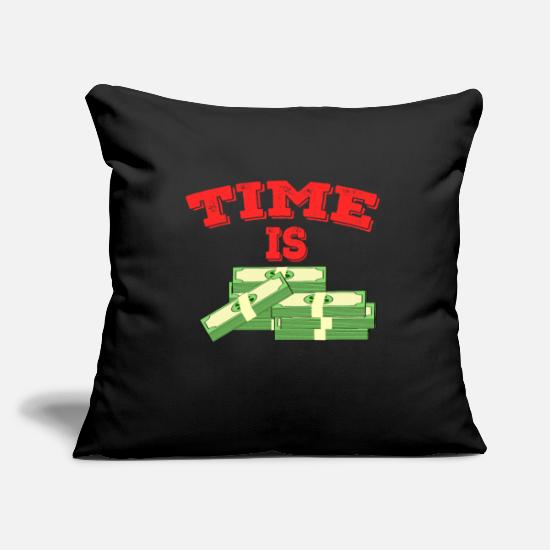 "Argento Copricuscini - TDesign semplice e creativo ""Times Is Money"". - Copricuscino nero"