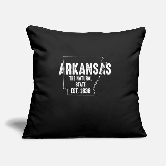 Line Pillow Cases - Arkansas State Line The Natural State Souvenir - Pillowcase 17,3'' x 17,3'' (45 x 45 cm) black