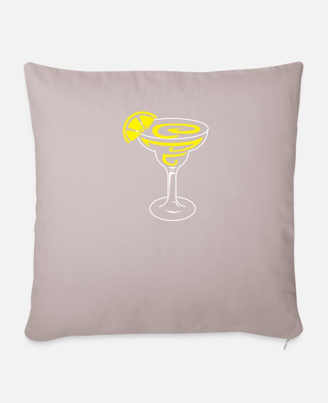 Salt Pillow Cases - Margarita Lemon Cocktail Design for Tequila Fans - Pillowcase 17,3'' x 17,3'' (45 x 45 cm) light taupe