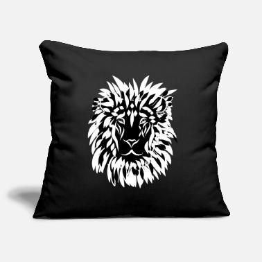 King Lion's head with mane black and white - Pillowcase 17,3'' x 17,3'' (45 x 45 cm)