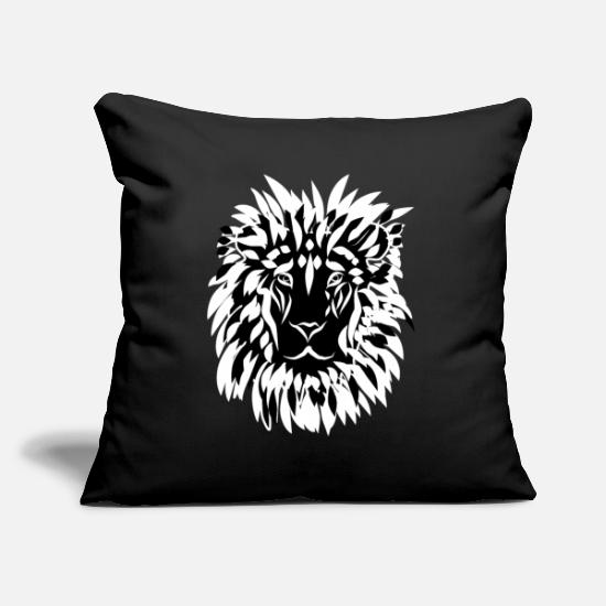 Wild Pillow Cases - Lion's head with mane black and white - Pillowcase 17,3'' x 17,3'' (45 x 45 cm) black