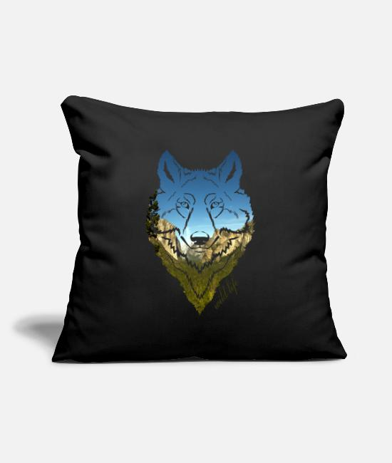 Forest Pillow Cases - Wolf face wildlife - Pillowcase 17,3'' x 17,3'' (45 x 45 cm) black