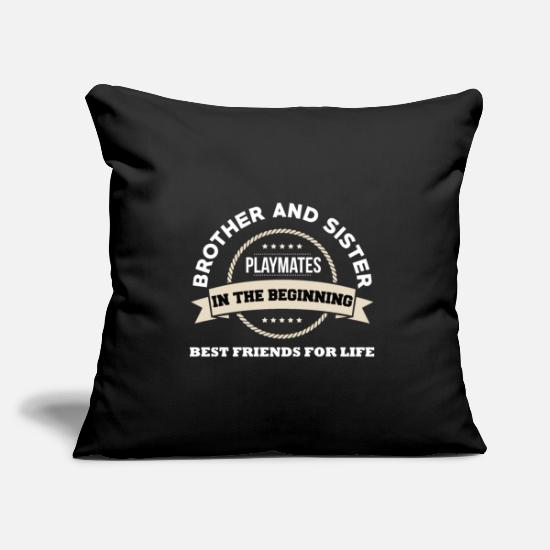 Siblings Pillow Cases - Brother and sister siblings - Pillowcase 17,3'' x 17,3'' (45 x 45 cm) black