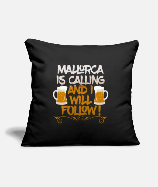 Party Pillow Cases - Mallorca Is Calling And I Will Follow Party Design - Pillowcase 17,3'' x 17,3'' (45 x 45 cm) black