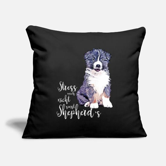 Aussie Pillow Cases - Aussie puppy - Do not stress me, otherwise shepherd's - Pillowcase 17,3'' x 17,3'' (45 x 45 cm) black