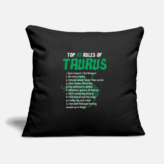 Horoscope Pillow Cases - Top 10 rules bull star sign - Pillowcase 17,3'' x 17,3'' (45 x 45 cm) black